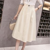 skirt Summer 2021 S,M,L,XL White, off white, watermelon red, black longuette commute High waist A-line skirt Solid color Type A 18-24 years old JZT 51% (inclusive) - 70% (inclusive) cotton Pocket, button Korean version