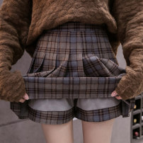 skirt Winter 2020 S,M,L,XL Green Brown grid, blue brown grid, gray white grid Short skirt commute High waist Pleated skirt lattice Type A 18-24 years old D520 51% (inclusive) - 70% (inclusive) Wool Korean version