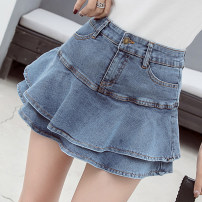 skirt Spring 2021 S,M,L,XL,2XL White, light blue, dark blue Short skirt commute High waist A-line skirt Solid color Type A 18-24 years old JD 51% (inclusive) - 70% (inclusive) other other Korean version