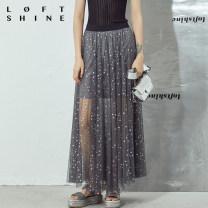 skirt Summer of 2019 XS S M L XL grey Mid length dress High waist More than 95% LOFTSHINE polyester fiber Polyester 100%