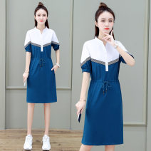 Dress Summer 2021 Bean paste red black blue M L XL 2XL 3XL Mid length dress singleton  Short sleeve commute V-neck High waist Solid color Socket A-line skirt puff sleeve Others 25-29 years old Type A Cleavage domain Korean version Lace up stitching button LY-2229Z 30% and below other nylon