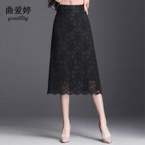 skirt Autumn of 2019 M L XL 2XL 3XL 4XL black Mid length dress commute High waist A-line skirt Solid color Type A qat-981 Qu aiting Zipper waist skirt lining Pure e-commerce (online only)