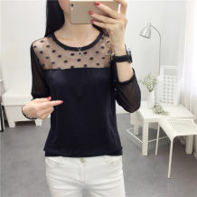 T-shirt White black M L XL XXL Fall 2017 Long sleeves Crew neck Self cultivation routine commute polyester fiber 86% (inclusive) -95% (inclusive) 18-24 years old Korean version originality Solid color See description 011 3D asymmetric zipper stitching lace up yarn mesh thread fold