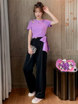 T-shirt Black purple green S M L XL Summer 2020 Short sleeve Crew neck Self cultivation have cash less than that is registered in the accounts routine cotton 86% (inclusive) -95% (inclusive) Qqaaiooyy / Qiaoyuan F516 Asymmetrical bow Cotton 95% polyurethane elastic fiber (spandex) 5%