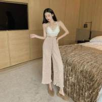 Casual pants Apricot, black, pink Average size Spring of 2019 Ninth pants Wide leg pants High waist commute routine 18-24 years old B13168H28skj5 Other / other Retro