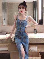 Dress Summer of 2019 blue S,M,L,XL Mid length dress singleton  Sleeveless commute High waist Solid color zipper A-line skirt camisole 18-24 years old Other / other Korean version Open back, stitching B18120H2IewaQ 31% (inclusive) - 50% (inclusive) Denim polyester fiber