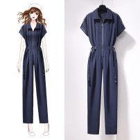Casual pants blue S M L XL Spring 2021 trousers Jumpsuit High waist commute routine 96% and above Jack cat other Korean version pocket Other 100%