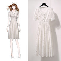 Dress Summer 2021 white S M L XL longuette singleton  Short sleeve commute V-neck High waist Dot Socket A-line skirt puff sleeve Others 25-29 years old Jack cat Korean version Splicing More than 95% Chiffon other Other 100% Pure e-commerce (online only)