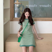Women's large Summer 2021 green S M L XL Dress commute Short sleeve Yingzi instrument 18-24 years old Middle-skirt Other 100% Same model in shopping mall (sold online and offline)
