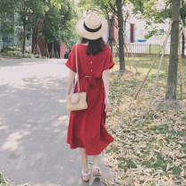 Dress Summer of 2019 gules S M L XL longuette singleton  Short sleeve commute Crew neck Elastic waist Solid color Socket Big swing other Others 18-24 years old Yingzi instrument Korean version More than 95% Chiffon other Other 100% Pure e-commerce (online only)