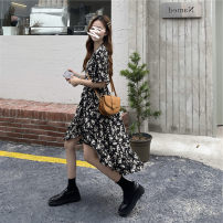 Women's large Summer 2021 Black flowers S M L XL Dress commute Short sleeve Yingzi instrument 18-24 years old Other 100%