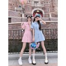 Women's large Summer 2021 Blue Pink S M L XL Dress commute Short sleeve Yingzi instrument 18-24 years old Middle-skirt Other 100% Same model in shopping mall (sold online and offline)
