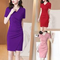 Dress Summer 2021 Dark green, sapphire blue, light purple, dark purple, pink, red, yellow, black, color blue, brick red M,L,XL,2XL,3XL Mid length dress Short sleeve commute V-neck Solid color Others 25-29 years old Simplicity