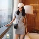 Dress Spring 2021 Gray, white, black M,L,XL,2XL,3XL Middle-skirt singleton  Short sleeve commute 18-24 years old Korean version
