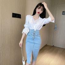 Women's large Spring 2021 Top and skirt S M skirt commute Self cultivation Korean version Denim Jingshehan / golden Han 18-24 years old pocket Triacetate fiber (triacetate fiber) 100%