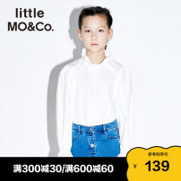 shirt This is white Little MO&CO. female 110/52 110/56 120/56 130/60 140/64 150/68 winter Long sleeves Europe and America Solid color cotton stand collar Cotton 100% Class B Winter of 2018