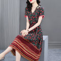 Dress Summer 2021 Retro Red S M L XL 2XL Mid length dress singleton  Short sleeve commute V-neck middle-waisted Socket A-line skirt routine Others 40-49 years old HN & Mo / Han Mu Patchwork printing AZ217180 More than 95% other Other 100% Pure e-commerce (online only)
