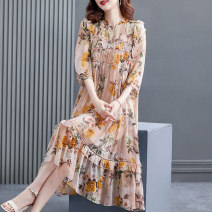 Dress Summer 2021 Light pink S M L XL 2XL longuette Two piece set elbow sleeve commute Crew neck Loose waist Broken flowers other A-line skirt shirt sleeve Others 40-49 years old HN & Mo / Han Mu printing AQ217082 More than 95% other Other 100% Pure e-commerce (online only)