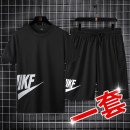 Leisure sports suit summer M L XL 2XL 3XL 4XL Short sleeve shorts teenagers T-shirt polyester fiber Summer 2021