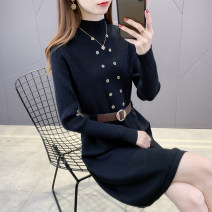 sweater Winter 2020 S M L XL Black off white blue brown Long sleeves Socket singleton  Medium length other 95% and above Half high collar Regular commute routine Solid color Regular wool Keep warm and warm Doliefay / Du Lifen L14096 Button Other 100% Exclusive payment of tmall