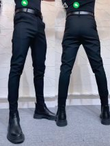 Casual pants Others Youth fashion black S,M,L,XL,2XL,3XL,4XL routine trousers Other leisure Self cultivation Micro bomb seventy-seven thousand five hundred and eight autumn youth tide 2020 middle-waisted Little feet No iron treatment Solid color Non brand