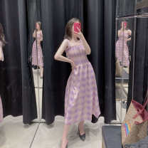 Dress Summer of 2019 Plaid skirt S,M,L Mid length dress singleton  Sleeveless Sweet One word collar High waist straps Type A
