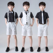 Suit / Blazer White, pink, blue, white. Black shirt strap, white. Black shirt tie, blue. Blue pants with straps, blue... White pants with straps 90cm,100cm,110cm,120cm,130cm,140cm,150cm,160cm,170cm Other / other male There are models in the real shooting Britain stripe Single breasted routine Class A