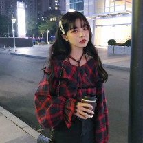 shirt Red grid, green grid Average size Spring of 2019 other 81% (inclusive) - 90% (inclusive) Long sleeves commute Regular other Socket pagoda sleeve lattice 18-24 years old Straight cylinder Korean version 2/27 Lace up, Ruffle