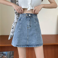 skirt Spring 2021 S,M,L,XL Light blue, black Short skirt Versatile High waist A-line skirt other Type A 18-24 years old 30% and below other other