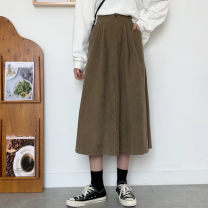skirt Autumn 2020 S,M,L Khaki, black Mid length dress commute High waist Umbrella skirt Solid color Type A 18-24 years old 31% (inclusive) - 50% (inclusive) Korean version