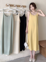 Dress Summer 2021 Light green, apricot, yellow, black Average size longuette singleton  Sleeveless commute Crew neck High waist Solid color Socket A-line skirt routine camisole 18-24 years old Type A Korean version 30% and below