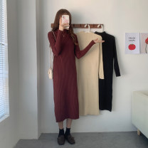 Dress Winter 2020 Black, apricot, brick red Average size Mid length dress singleton  Long sleeves commute Half high collar High waist Solid color Socket routine 18-24 years old Type H Korean version 30% and below other other