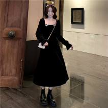 Dress Spring 2021 black Average size Mid length dress singleton  Long sleeves commute square neck High waist Socket A-line skirt pagoda sleeve Others 18-24 years old Type A Korean version Bowknot, stitching 30% and below other