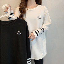 T-shirt White, black Average size Spring 2021 Long sleeves Crew neck easy Medium length routine commute other 30% and below 18-24 years old Korean version youth Geometric pattern Stitching, embroidery