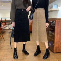 skirt Autumn 2020 S,M,L Khaki, black Mid length dress commute High waist skirt Solid color Type A 18-24 years old 31% (inclusive) - 50% (inclusive) other other Korean version
