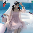 Dress Summer of 2018 Average size Mid length dress singleton  Sleeveless commute One word collar High waist Solid color Socket A-line skirt other camisole 18-24 years old Type A Korean version More than 95% polyester fiber