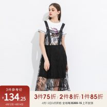 Dress Summer of 2019 black 36/S/160,38/M/165,40/L/170 Mid length dress singleton  Short sleeve Crew neck middle-waisted Solid color Socket A-line skirt 25-29 years old Type A Peoleo / piaoyei Lace RDK12012203 91% (inclusive) - 95% (inclusive) cotton