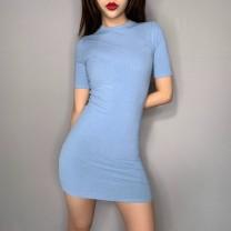 Dress Summer of 2019 Rose, black, khaki, blue S,M,L Short skirt singleton  Short sleeve street Crew neck High waist Solid color routine Others Europe and America