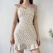 Dress Summer 2020 Purple flowers, dandelions, roses S, M Short skirt singleton  street High waist camisole Europe and America