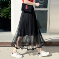 skirt Spring of 2019 Average size Pink Blue Grey apricot black longuette fresh High waist Pleated skirt Solid color 7025 black Hooyiu / Huoyu Pleated lace Pure e-commerce (online only)