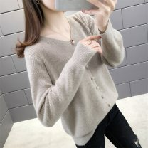 Wool knitwear Spring 2020 S M L XL Long sleeves singleton  Socket other More than 95% Regular routine commute easy V-neck routine Solid color Socket Korean version 25-29 years old Beautiful appearance Splicing thread Other 100% Pure e-commerce (online only)
