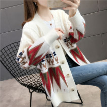 Wool knitwear Autumn 2020 S M L XL White Navy Long sleeves singleton  Cardigan other More than 95% Regular routine commute easy V-neck routine Color matching Single breasted Korean version YZM80617 35-39 years old Beautiful appearance Jacquard pocket stitched with threaded buttons Other 100%
