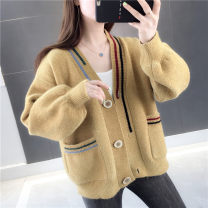 Wool knitwear Winter 2020 S M L XL Red yellow pink white Long sleeves singleton  Cardigan other More than 95% Regular routine commute easy V-neck routine stripe Single breasted Korean version YZM90196 30-34 years old Beautiful appearance Stitched thread button with jacquard embroidery and printing
