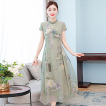 Dress Summer 2020 Green blue pink M L XL 2XL 3XL 4XL Mid length dress singleton  Short sleeve commute stand collar middle-waisted Decor Socket A-line skirt routine Others 35-39 years old Type A Dream Poetry Korean version printing YMNRJ7236 More than 95% other Other 100% Pure e-commerce (online only)