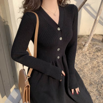 Women's large Autumn 2020 black S M L XL singleton  commute Long sleeves Solid color Korean version V-neck routine S4145 Soaino 18-24 years old Medium length Other 100% Pure e-commerce (online only)