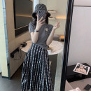 Dress Summer 2020 Polka dot skirt + grey top S M L XL Mid length dress Two piece set Short sleeve commute Crew neck High waist Dot Socket A-line skirt routine Others 18-24 years old Type A Soaino Korean version Three dimensional decoration 71% (inclusive) - 80% (inclusive) polyester fiber