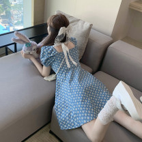 Women's large Summer 2021 Picture color S M L XL Sweet Self cultivation Short sleeve Decor square neck Medium length puff sleeve 7360# Soaino Short skirt Other 100% Pure e-commerce (online only) Princess Dress Mori