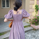 Women's large Summer 2020 violet S M L XL singleton  commute Self cultivation Short sleeve Solid color Korean version square neck Medium length puff sleeve Soaino longuette Other 100% Pure e-commerce (online only) Princess Dress