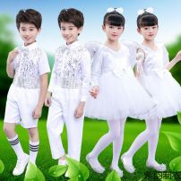 Children's performance clothes White short sleeves, white men's short, white men's long, white women's long sleeves, white pantyhose neutral 100cm,110cm,120cm,130cm,140cm,150cm,160cm Other / other Class A other