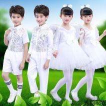 Children's performance clothes White short sleeves, white men's short, white men's long, white women's long sleeves, white pantyhose neutral 100cm,110cm,120cm,130cm,140cm,150cm,160cm Other / other Class A other